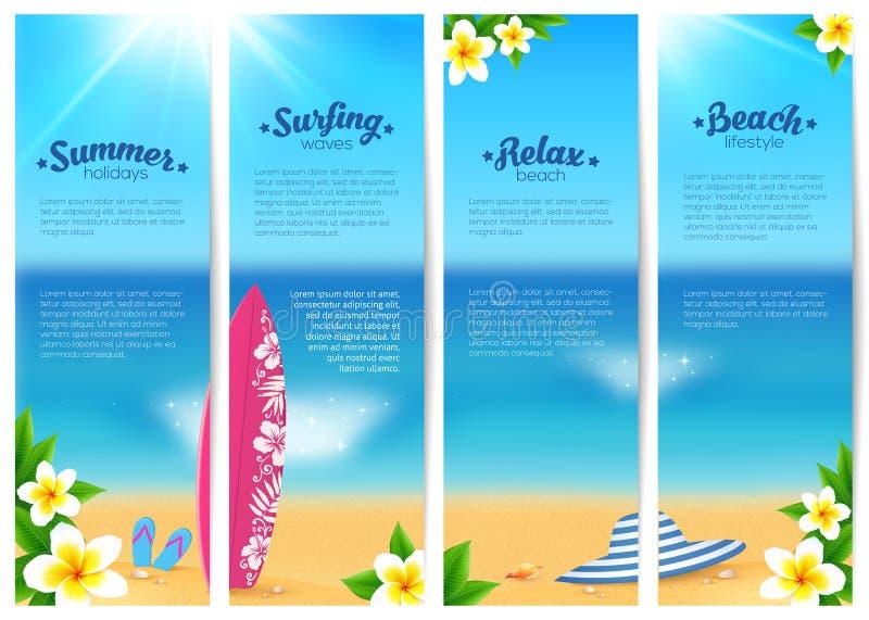 Uppsättning av fyra baner för semester för sommarhavstrand Mall för baner för havslopp stock illustrationer