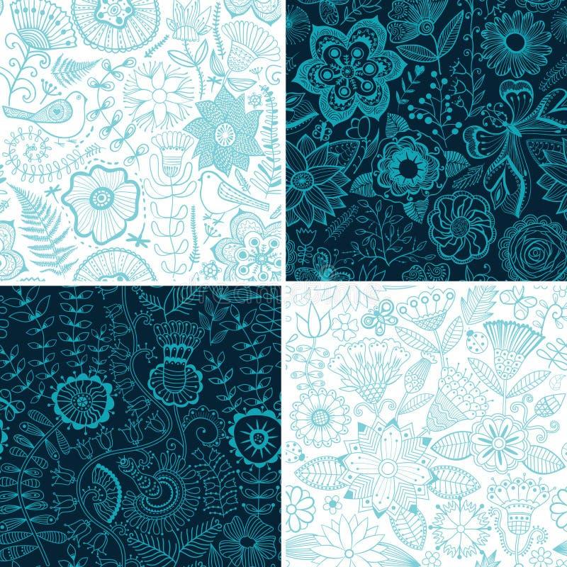Uppsättning av fyra blom- modeller (sömlöst att belägga med tegel) Seamless Patter royaltyfri illustrationer