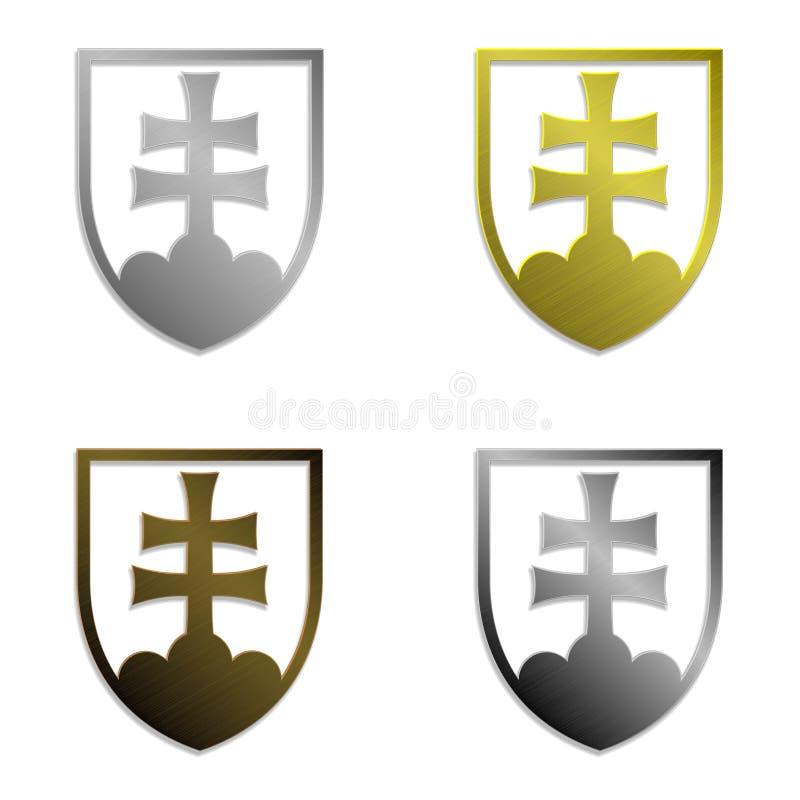 Uppsättning av fyra enkelt isolerade metalliska slovakiska emblem vektor illustrationer