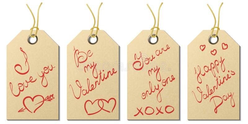 Uppsättning av fyra etiketter för gåva för dag för valentin` s med handskrivna hälsningar royaltyfria bilder