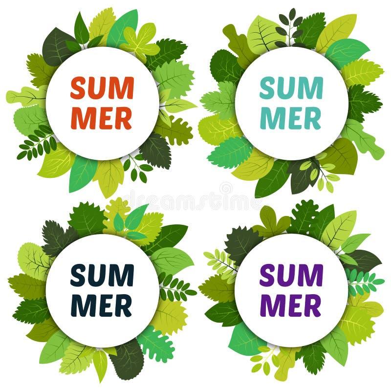 Uppsättning av fyra etiketter med gröna sommarsidor under vita rundor vektor illustrationer