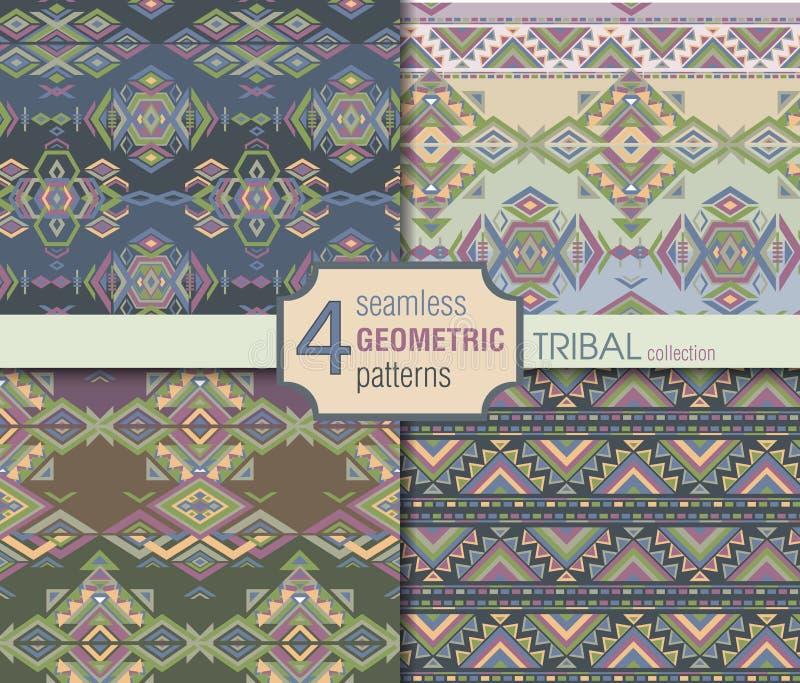 Uppsättning av fyra etniska sömlösa modeller Geometrisk ändlös backgrou royaltyfri illustrationer