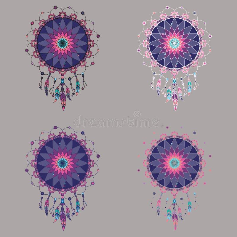 Uppsättning av fyra färgrika dreamcatchers i purpurfärgade signaler royaltyfri illustrationer