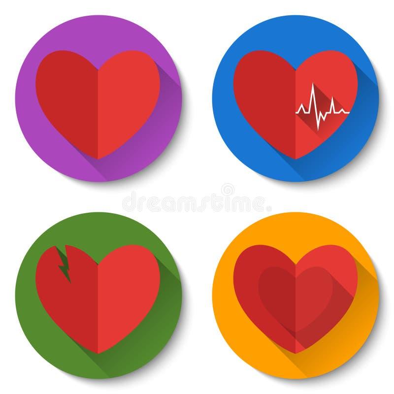 Uppsättning av fyra färgrika plana hjärtasymboler med långa skuggor Dubbla hjärtor, bruten hjärta, hjärtslag Valentine Day symbol vektor illustrationer