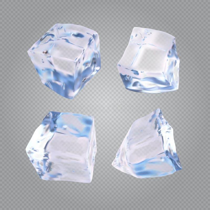 Uppsättning av fyra genomskinliga iskuber vektor illustrationer