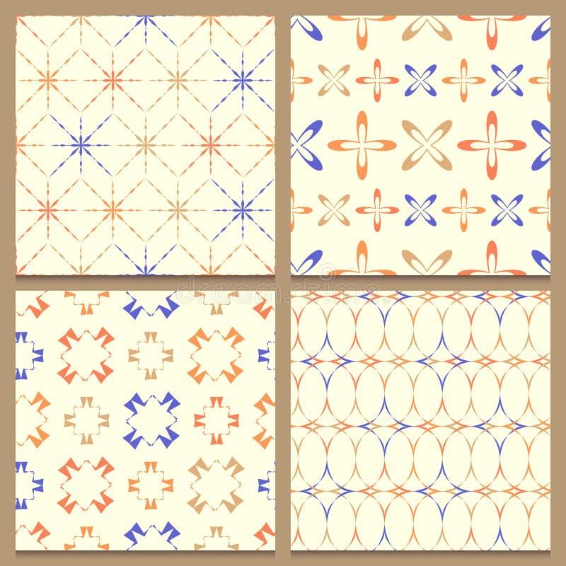 Uppsättning av fyra geometriska sömlösa modeller stock illustrationer