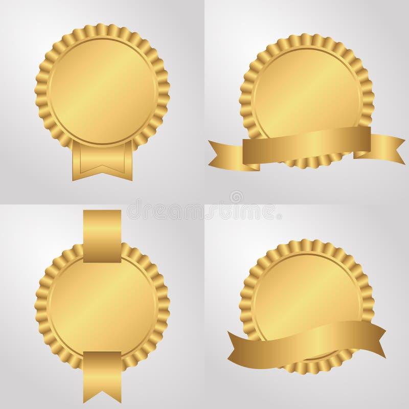 Uppsättning av fyra håligheter med band som är guld- stock illustrationer