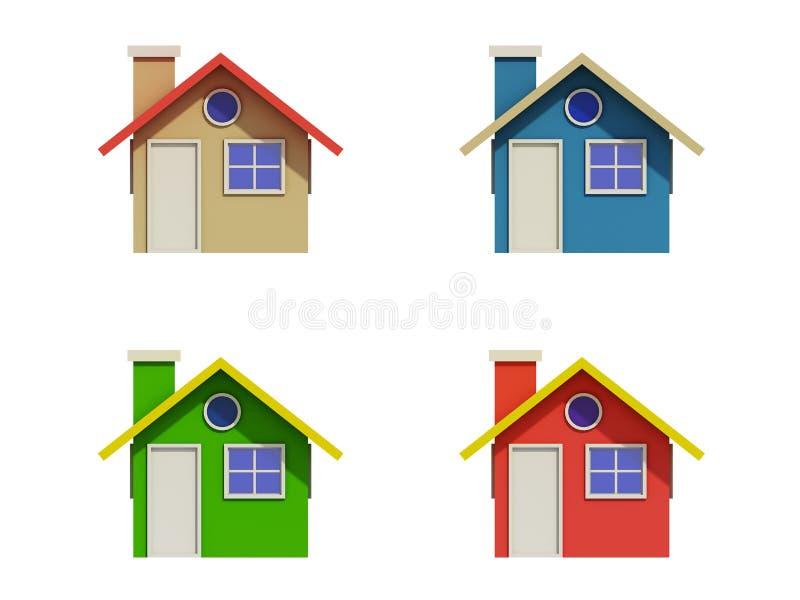 Uppsättning av fyra hus med färgändringar stock illustrationer