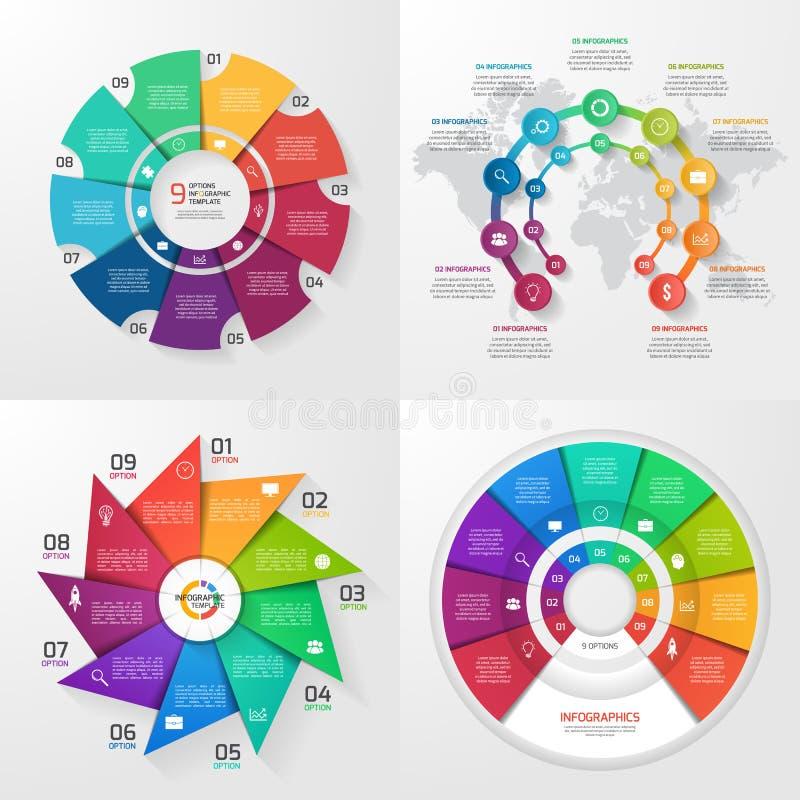 Uppsättning av fyra infographic mallar för vektor 9 alternativ stock illustrationer