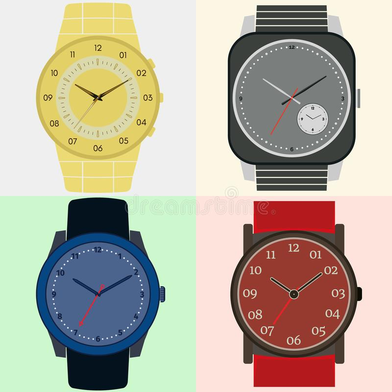 Uppsättning av fyra klockor Klockaframsida med timme, minut och andra händer royaltyfri illustrationer