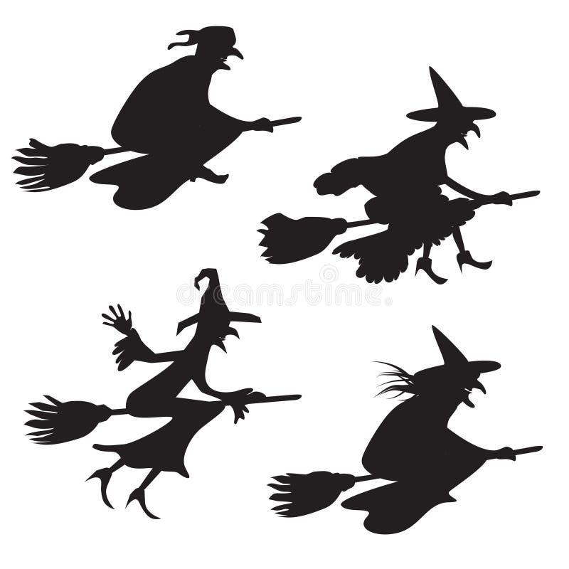 Uppsättning av fyra konturer av flyghäxor vektor illustrationer