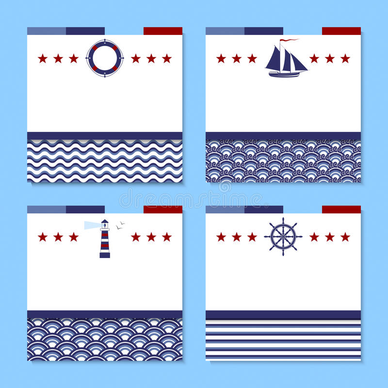 Uppsättning av fyra kort i havstema stock illustrationer
