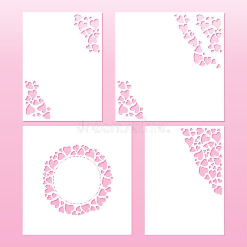 Uppsättning av fyra kort med den openwork modellen av hjärtor Bitande vektormallar för laser stock illustrationer