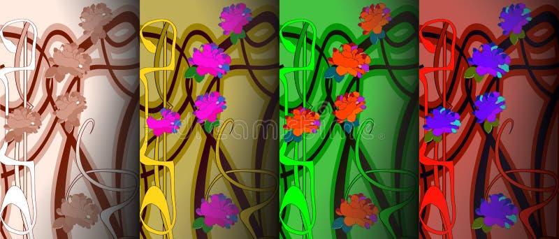 Uppsättning av fyra modeller i jugendstilstil också vektor för coreldrawillustration stock illustrationer