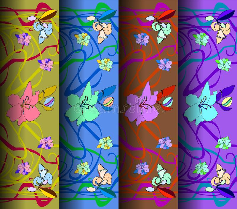Uppsättning av fyra modeller i jugendstilstil också vektor för coreldrawillustration vektor illustrationer