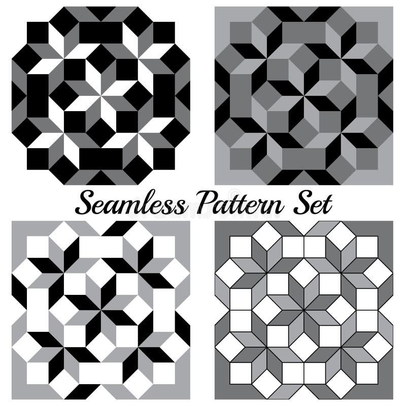Uppsättning av fyra moderna geometriska sömlösa modeller med romben och fyrkanter av svart-, grå färg- och vitskuggor vektor illustrationer
