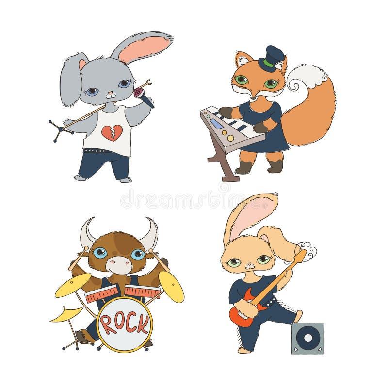 Uppsättning av fyra musikaliska tecken för barn` s: kalv, kaniner och räv Gitarrist, keyboardist, sångare och handelsresande vektor illustrationer