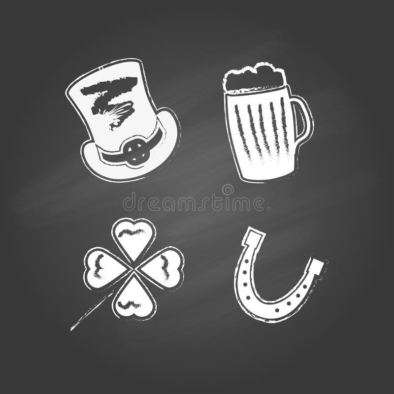 Uppsättning av fyra objekt för dag för St Patrick ` s vektor illustrationer