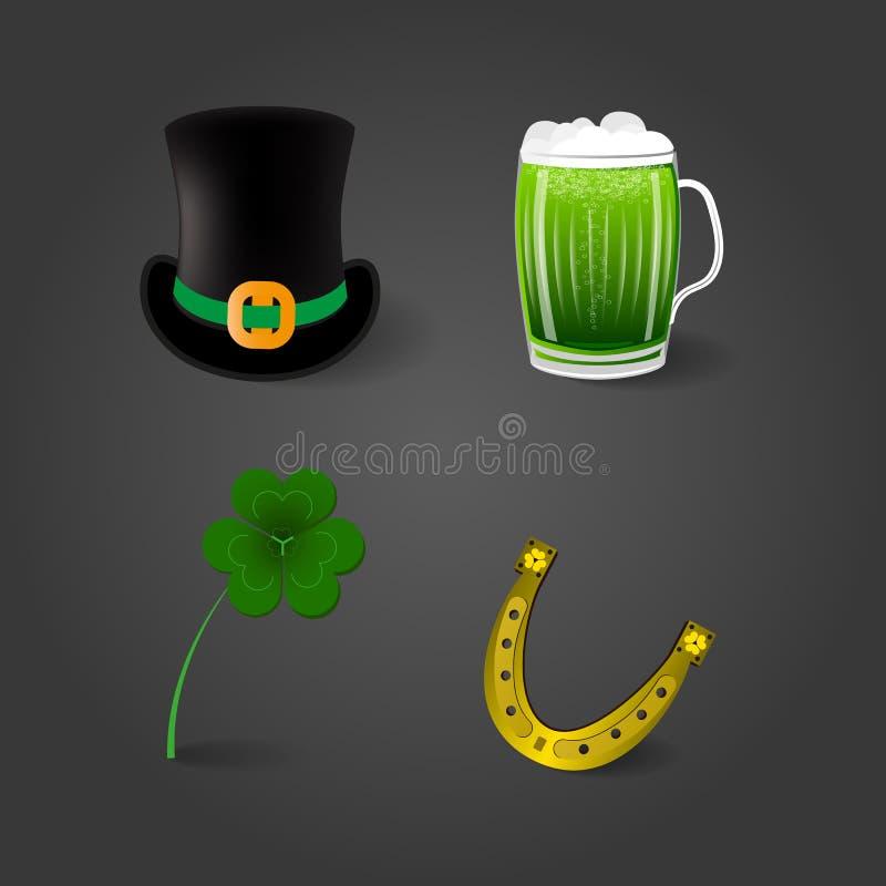 Uppsättning av fyra objekt med skugga på mörk bakgrund för dag för St Patrick ` s royaltyfri illustrationer