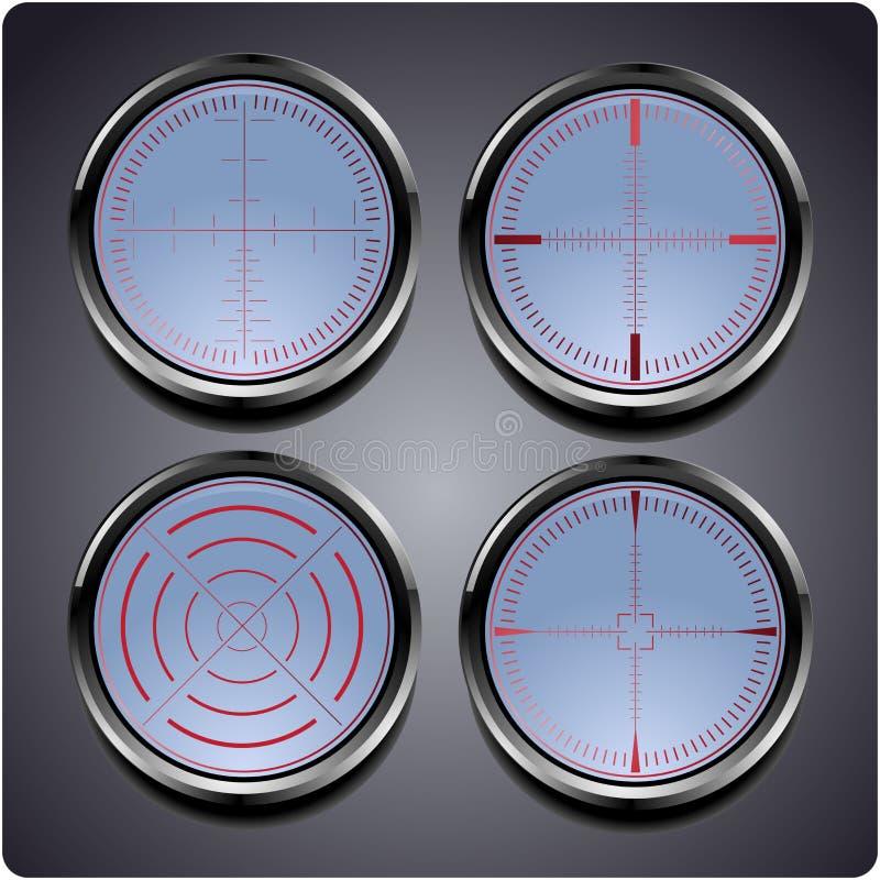 Uppsättning av fyra olika crosshairs stock illustrationer
