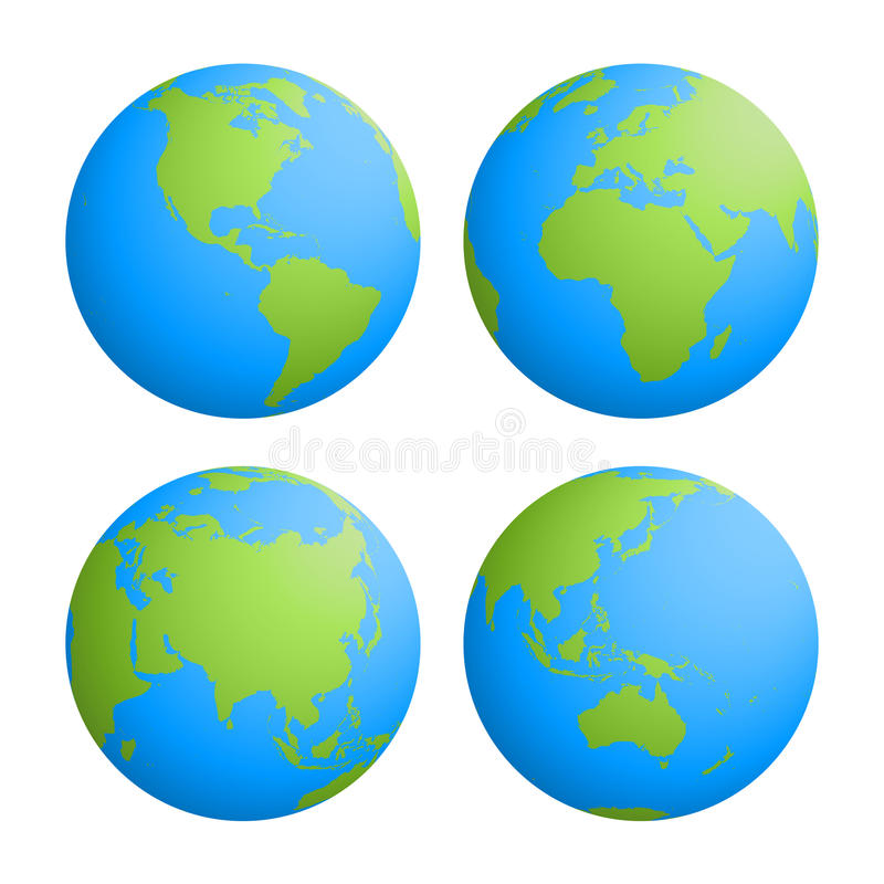 Uppsättning av fyra planetjordjordklot med den gröna landkonturöversikten på bakgrund för blått vatten vektor för illustration 3d stock illustrationer