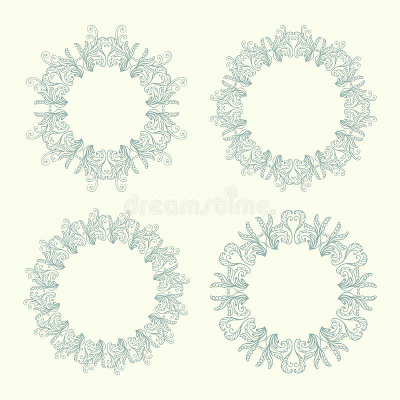 Uppsättning av fyra runda blom- dekorativa ramar Rund modell för tappning stock illustrationer
