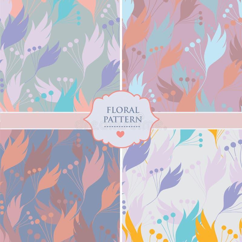 Uppsättning av fyra sömlösa blom- bakgrundsmodeller av neutrala färger vektor illustrationer