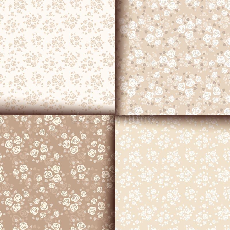 Uppsättning av fyra sömlösa modeller med rosor Vektor EPS-10 royaltyfri illustrationer