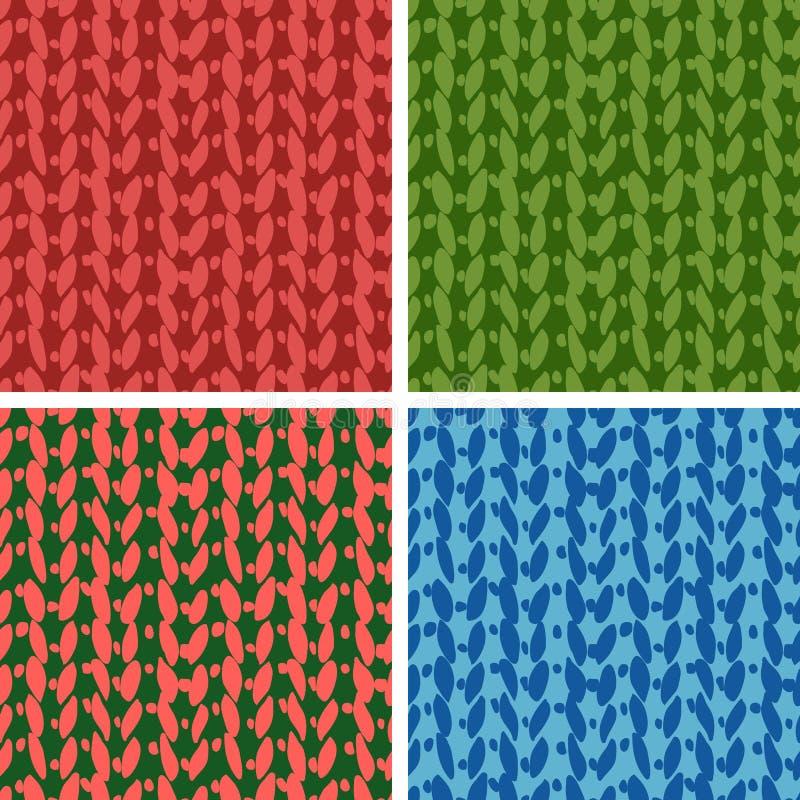 Uppsättning av fyra stickmönster vektor illustrationer