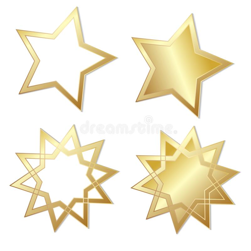 Uppsättning av fyra stjärnor som mousserar att skina som är guld-, materielvektorillustr stock illustrationer