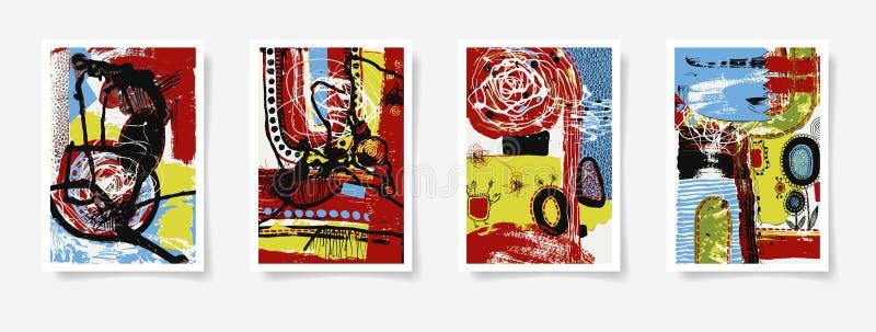 Uppsättning av fyra stycken tom för samtidaabstrakt begrepp för ark A4 målning stock illustrationer