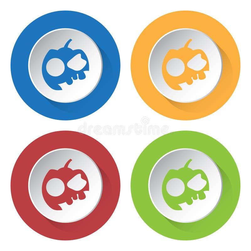 Uppsättning av fyra symboler - pumpa, tre tänder och lock vektor illustrationer