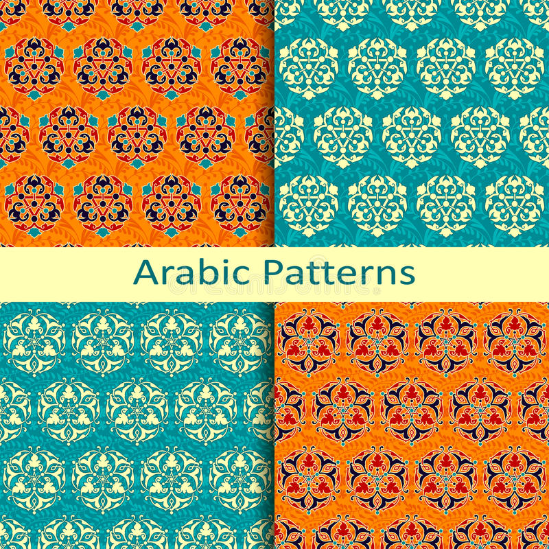 Uppsättning av fyra traditionella färgrika arabiskamodeller stock illustrationer