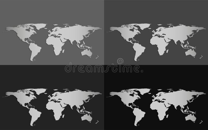 Uppsättning av fyra vektorvärldskartor som isoleras på en gråtonbakgrund stock illustrationer