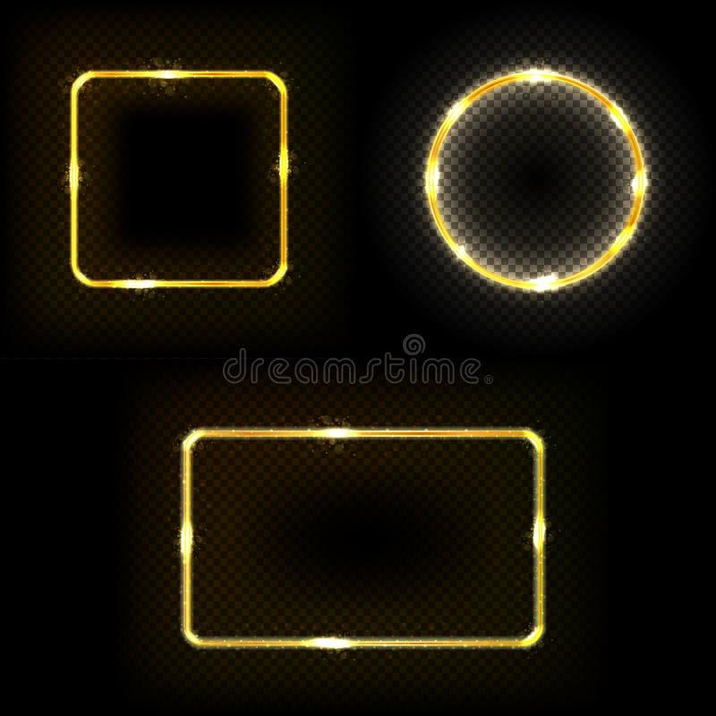 Uppsättning av fyrkanten, cirkel, ram med ljuseffekter vektor illustrationer