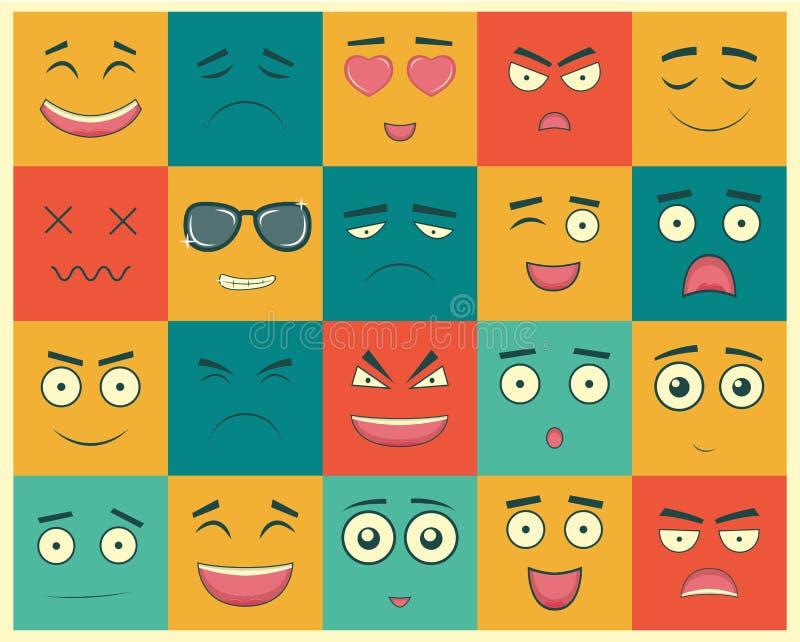 Download Uppsättning Av Fyrkantiga Emoticons Emoticon För Webbplatsen, Pratstund, Sms Vektor Vektor Illustrationer - Illustration av färgrikt, emoticon: 78730029