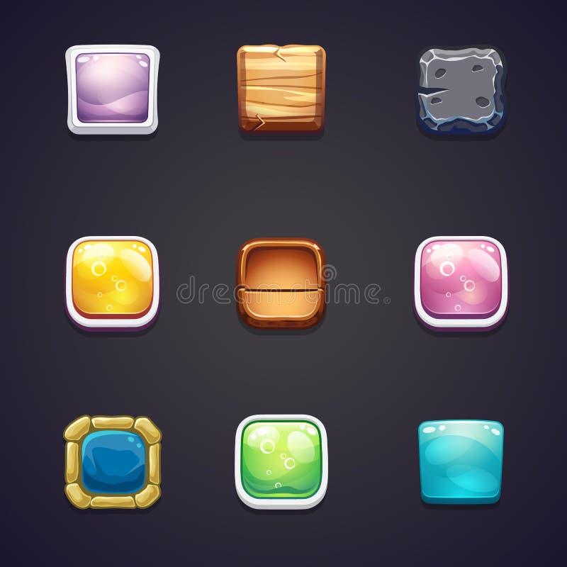Uppsättning av fyrkantiga knappar av olika material för de rengöringsdukdesignen och dataspelarna royaltyfri illustrationer
