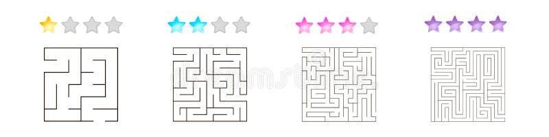 Uppsättning av 4 fyrkantiga labyrinter för ungar på olika nivåer av komplexitet stock illustrationer