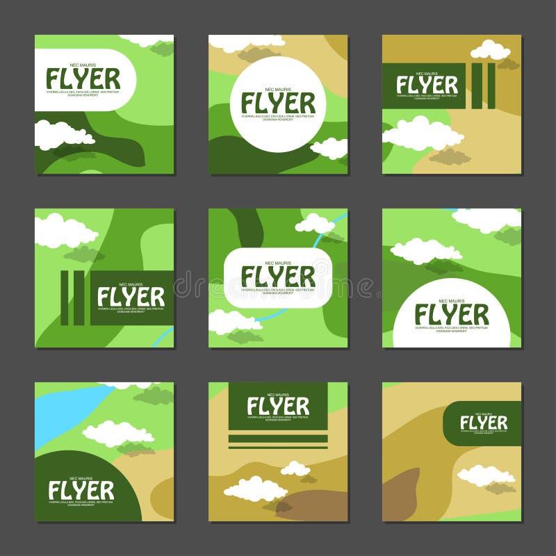 Uppsättning av fyrkantiga reklamblad med områdesöversikten i plan stil vektor vektor illustrationer