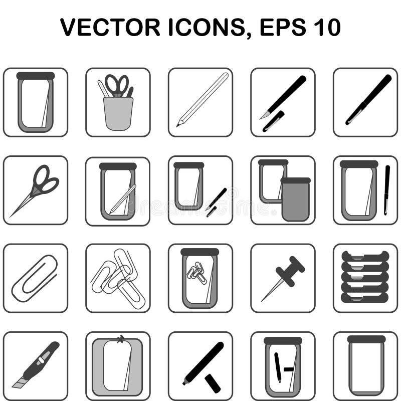 Uppsättning av 20 fyrkantiga symboler för vektor med skola- och kontorsbrevpapper royaltyfri illustrationer