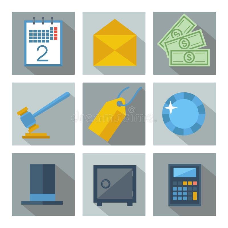 Uppsättning av 9 fyrkantsymboler för finansiell investering stock illustrationer