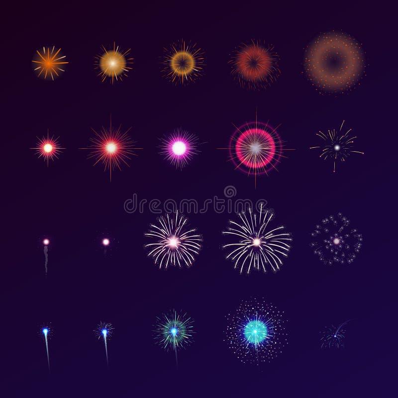 Uppsättning av fyrverkerier som brister i himmel Samling av festliga ljusa kulöra blinkande ljus Packe av den celebratory designe stock illustrationer