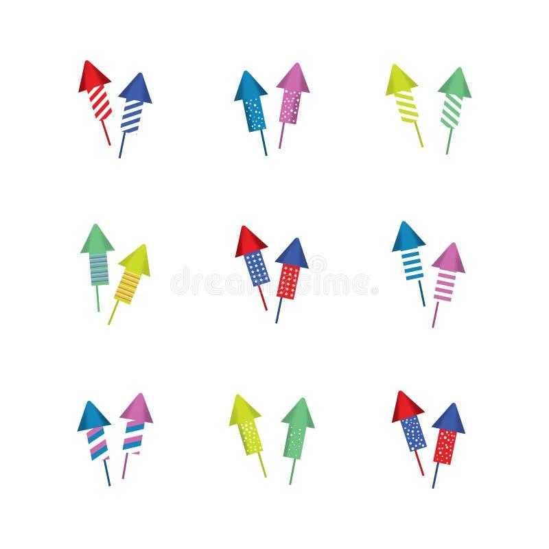 Uppsättning av fyrverkerisymbolen vektor illustrationer