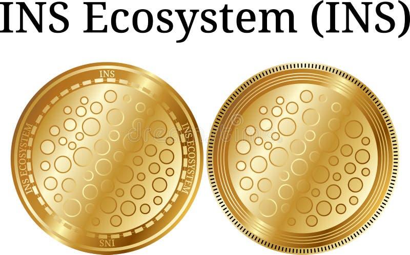 Uppsättning av fysisk guld- INS för myntINS-ekosystem, digital cryptocurrency Uppsättning för symbol för INS-ekosystemINS royaltyfri illustrationer