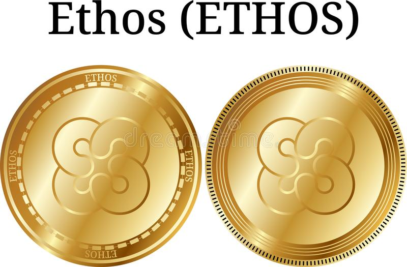 Uppsättning av fysisk guld- myntetosETOS, digital cryptocurrency Uppsättning för etosETOSsymbol stock illustrationer