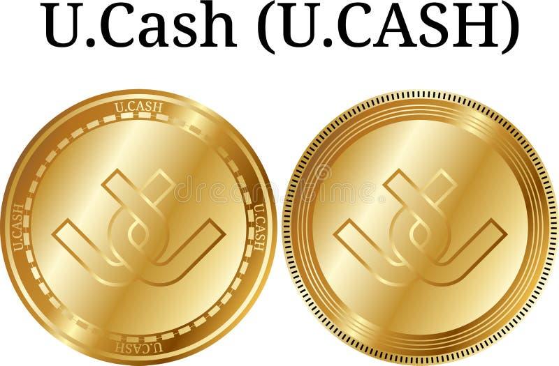 Uppsättning av fysiskt guld- mynt U Kontant närbild för U KASSA digital cryptocurrency U Kontant närbild för U Kontant symbolsupp stock illustrationer