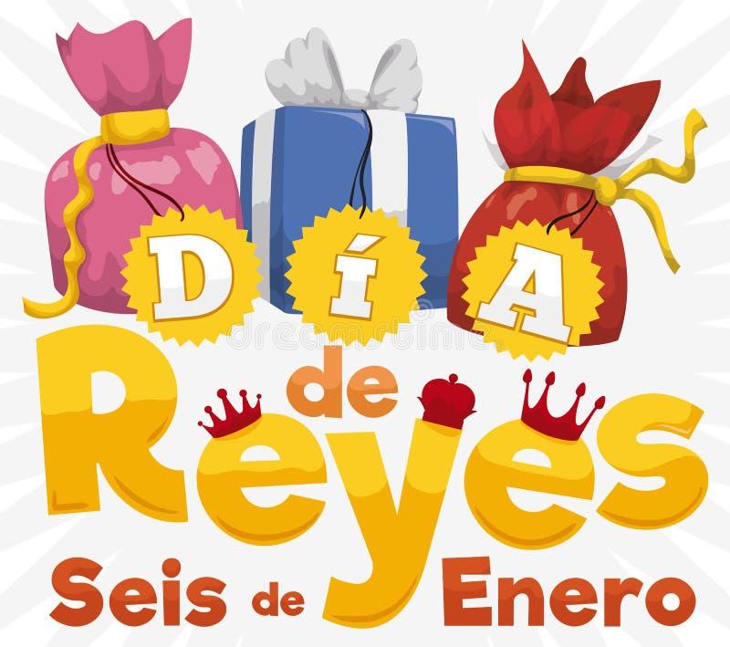 Uppsättning av gåvor och tecknet för spanska Dia de Reyes, vektorillustration royaltyfri illustrationer