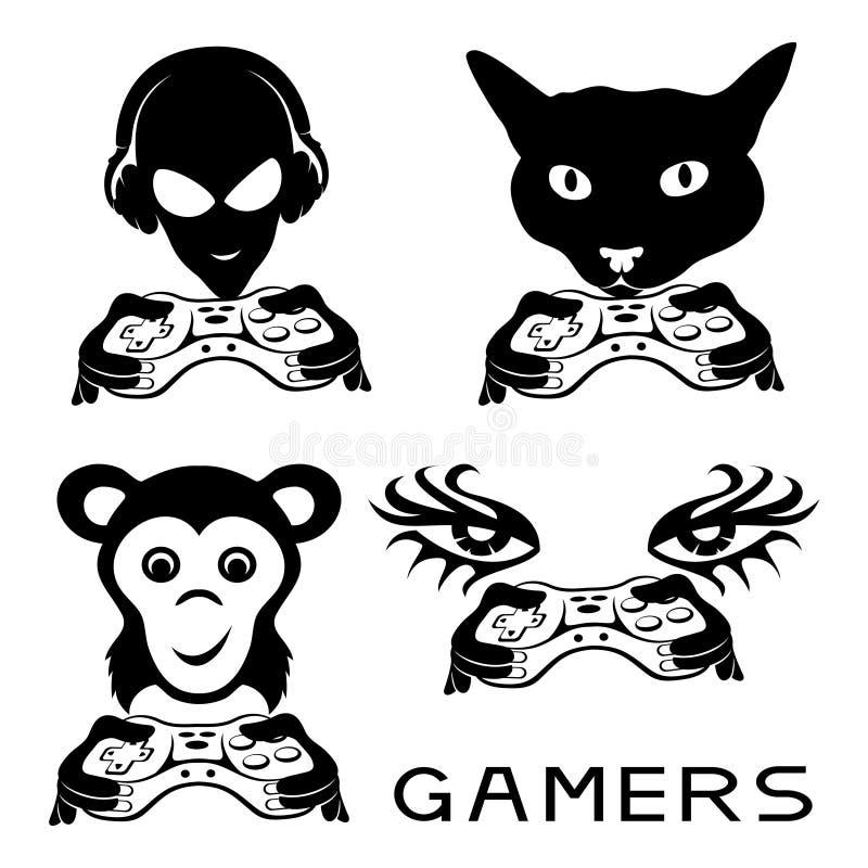 Uppsättning av gamertecken royaltyfri illustrationer