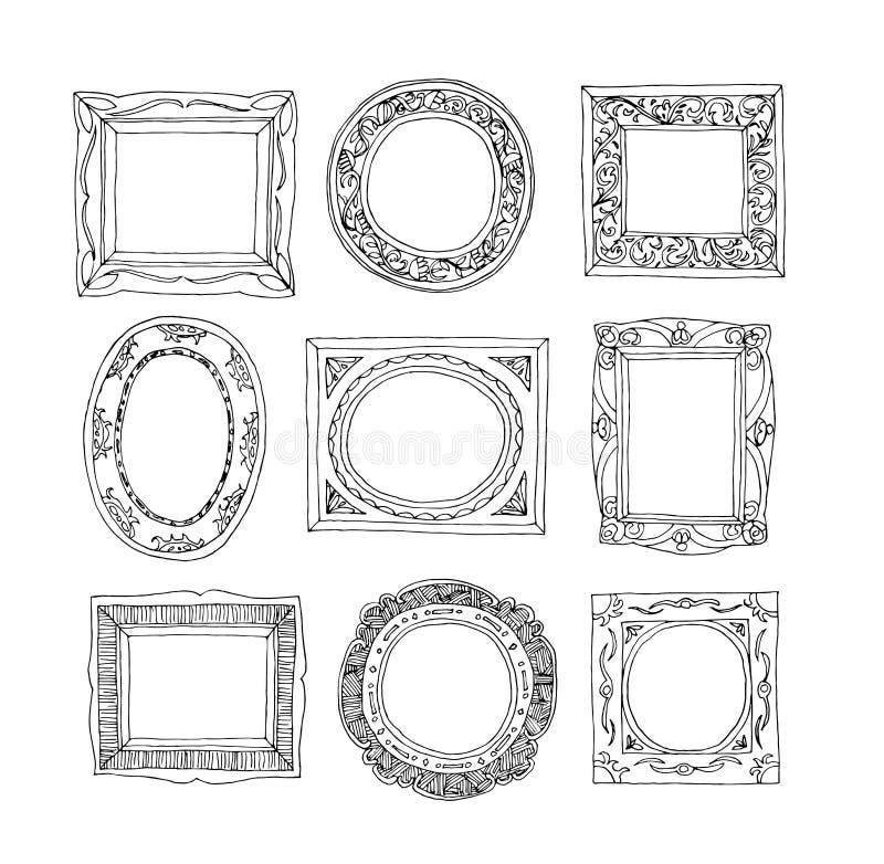 Uppsättning av gamla bildramar, hand dragen vektorillustration royaltyfri illustrationer
