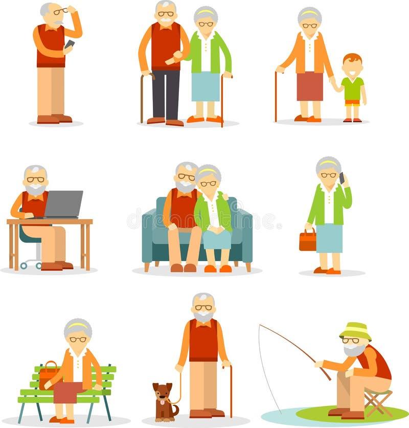 Uppsättning av gamla människor i olika lägen stock illustrationer